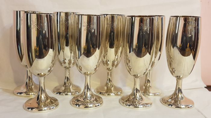 Set of 8 vintage silver champagne glasses - 1970s/80s, Italy