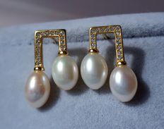 14 k gold culture pearl earrings ,Weight : approx 5 g