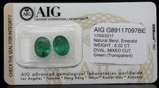 Couple Emerald Green 6.02 ct   No Reserve Price