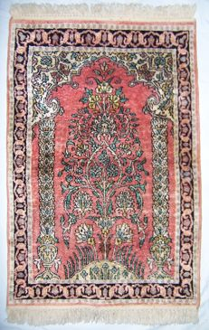 Qum Kashmir silk carpet - India - Middle of the 20th century