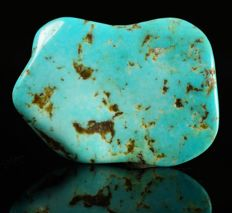 Natural Turquoise polished specimen - pure turquoise untreated - 2,9 x 2,0 x 0,3 cm - 3,36 gm - 16,8ct