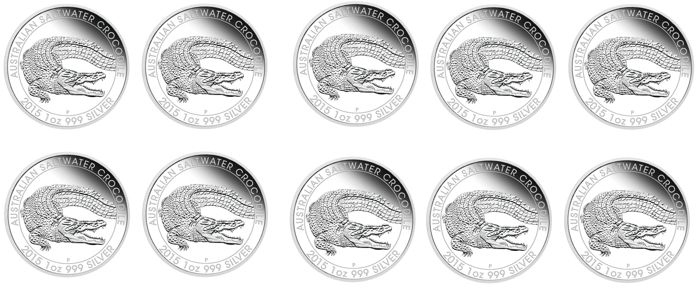 "Australia - Dollar 2015 ""Salt water Crocodile"", 10 x 1 oz of silver"