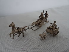 2 Piece silver miniatures, including horse-drawn sleigh and dogcart with driver