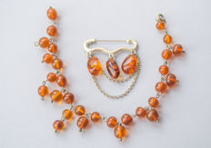 Set of Natural Baltic Amber brooch and bracelet in cognac colour Amber
