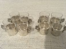 Edwardian silver glass holders with liners - Williams Birmingham Ltd - Birmingham - 1908