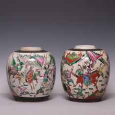 Two large Nanking polychrome decorated porcelain vases – China – late 19th century