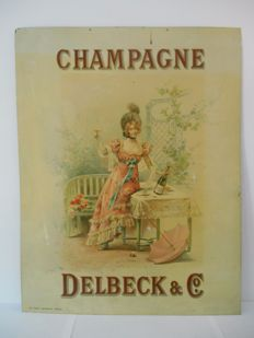 Rare metal advertising sign for Champagne Delbeck & Co from 1930