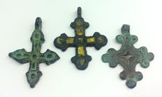 Early medieval bronze crosses, IX-XII century 38x30, 40x27mm 38x31mm with enamel