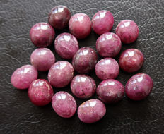Lot comprising untreated Star Ruby Cabochons - 8.1 to 8.6mm - 126ct  (19)