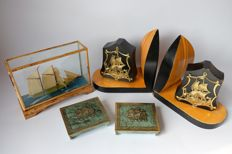 Bookends, ship to scale and 2 copper desk accessories