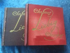 Two liebig books full of old series total 600 old chromos
