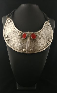 Antique high-purity breastplate with carnelians – Turkem tribes, early 20th century