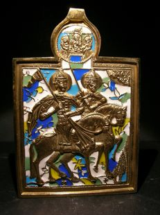 Gorgeous Enameled Orthodox Bronze Icon of the Saints Boris and Gleb.