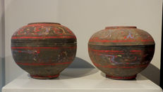A Han DynastyPainted Pottery Pair of Vases - Diameter 23 cm