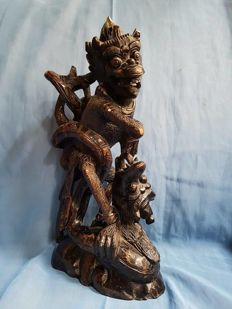 Powerful old wooden statue depicting Hanuman - Bali, Indonesia - first half 20th century
