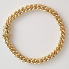 Solid 18 kt yellow gold bracelet with curb links - Length: 20 cm