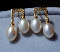 Sterling silver  culture pearl earrings ,Weight : approx 3 g