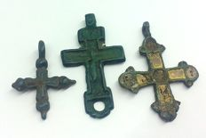 Early medieval bronze crosses, IX-XII century 27x22, 41x23 mm 40x31 mm with enamel