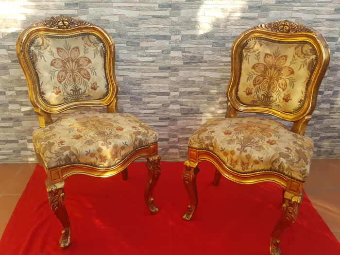 Pair of chairs of French baroque style, early 20th century