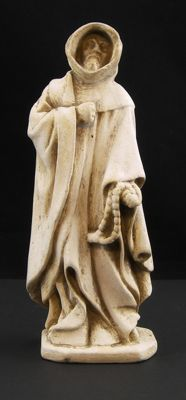 Antique 19th-century terracotta sculpture, depicting St. Benedict