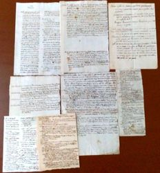 Manuscripts; lot of 8 historical records of the Lords of Milan and their governors - 18th century