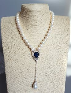 cultivated pearl necklace with   pendant- -  length :46 cm