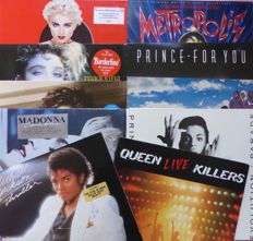 """Set of 10 80's albums, including live double by Queen, Madonna (4), Prince (3 + 7""""), Michael Jackson Thriller and Soundtrack Metropolis"""