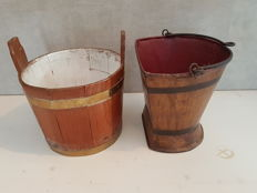 Two 19th century iron buckets with flat side and elm clothespin basket with brass bands