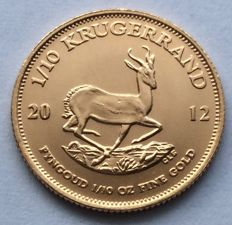 South Africa: 1/10 oz Krugerrand 2012-3.11 g fine gold