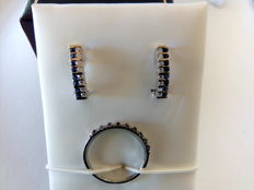 18kt white gold set pair of earrings and ring with sapphires and diamonds