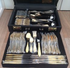 "SBS SOLINGEN - 12-person 70-piece cutlery set in case - Model ""Gloria Royal"" - 24 ct gold plated"