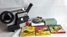 Revue Lux 2003 Super 8 Projector and 3 animated movies from U.S.A. In original packaging from the 70s.