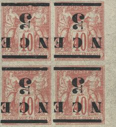France 1883-84 - General colonies, New Caledonia sage with overprint 5 NCE reversed block of 4 - Yvert n° 6a