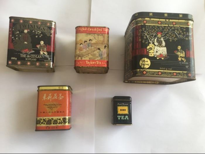 5 old tea boxes, Jasmine, Chinese, English