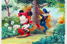 Garrido, Sergio - Dibujo original firmado por el autor - Little red riding hood - Minnie Mouse and the wolf - (2017)