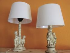 Set of wood? angel table lamps