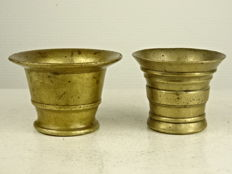 Two antique bronze mortars - England and Belgium - 19th century