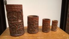 Four Bitongs of bamboo - China - early 20th century (Republic period)