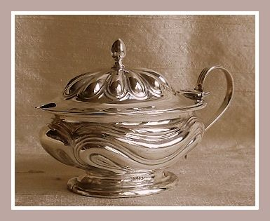 Sterling Silver Art Nouveau mustard pot w/blue glass liner, H.V. Pithey & Co., Birmingham, 1918