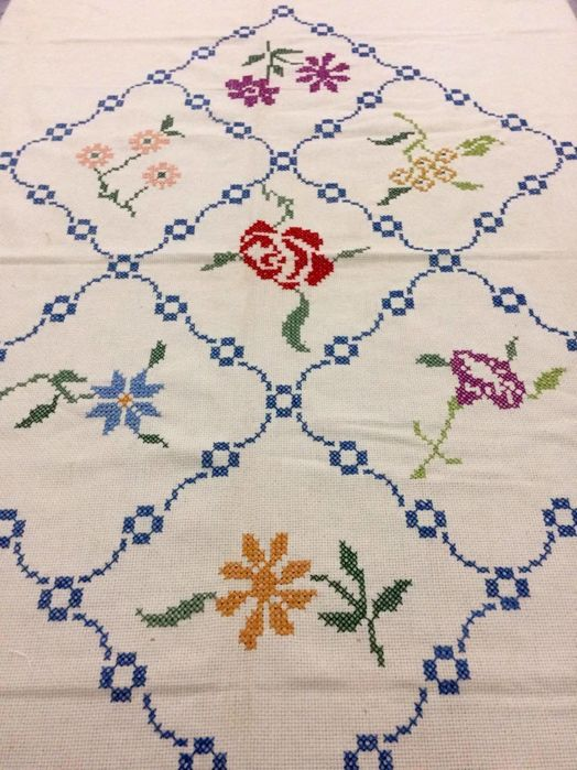 Hand embroidered tablecloth - Italy - 19th century