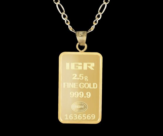 2.5 g Fine Gold Bullion Bar  Pendant + 14 Ct Gold Chain 60 cm