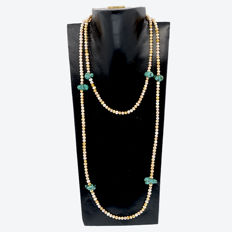 Necklace with cultured pearls and turquoises - 18kt/750 yellow gold - Length 114 cm.