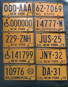 NEW YORK state - 10 license plates - Samples, Judges, Volunteer Firefighter, Official, State, District Attorney