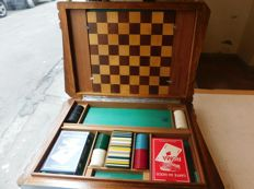Wooden game box with silver decoration - Art Deco 1930s - Italy