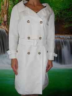 Prada - white silk trench coat - Made in Italy