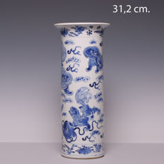 Large blue and white porcelain beaker vase – kylins decoration – China – 19th century (marked:  Kangxi)
