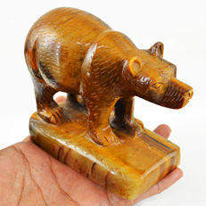 Golden Tiger Eye Hand Carved Bear - 126x105x47 mm - 769 gm