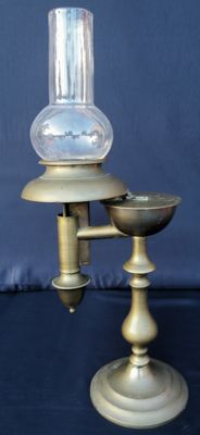 Rare oil lamp in bronze and brass, Quinquet English - ca. 1880