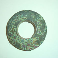 Chinese travelling bronze ritual disc - Pi disc formant the universe  - 44 mm