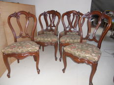 Set of six mahogany chairs, France, early 20th century